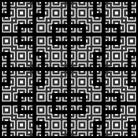 etnic: An elegant black and white vector pattern, geometric square tiles Illustration