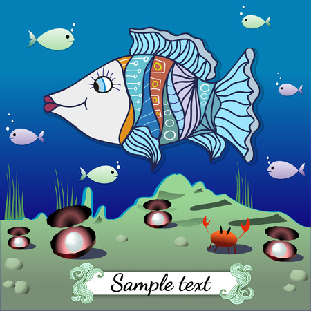 saltwater pearl: Cartoon fish in the depths of the ocean. Vector illustration. Illustration