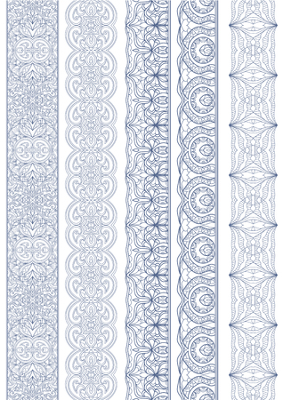 arabic currency: Ornamental Seamless Borders Vector Set for Ethnic Decor