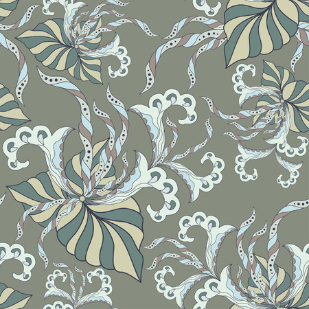 A seamless texture with ornate flowers and leaf design. Illustration