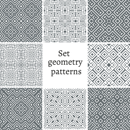 Set of ornamental patterns for backgrounds and textures. Illustration