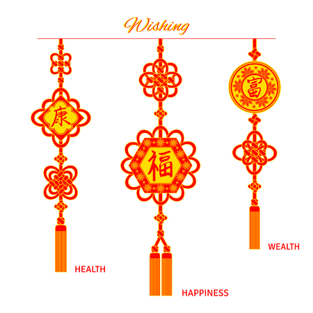 Set of oriental red and golden tassel decorations for new year. Illustration