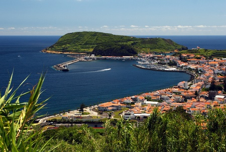 bight: View to port of Horta on Faial island