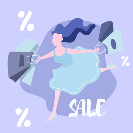 girl is running on a sale
