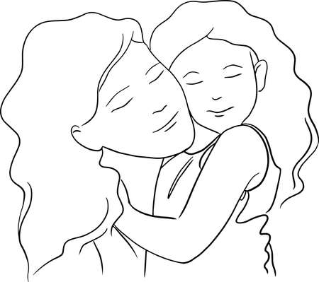 mother and doughter embracing vector illustration