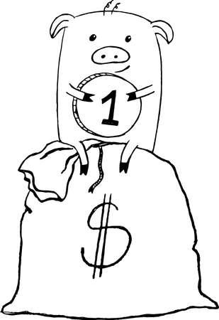 cute little pig embrace money