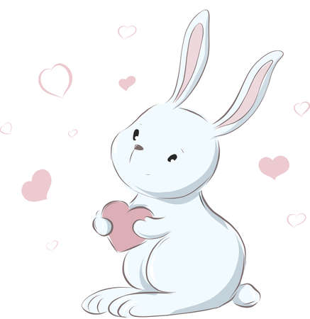 Cute little rabbit with heart, valentines card