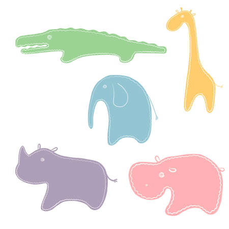 african animals vector set, stikers with cute characters