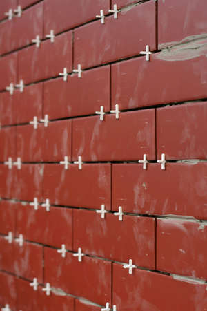 clinker tile: Clinker para la organizaci�n de los azulejos de pared con clavijas.