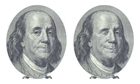 benjamin franklin: Hundred dollar. Benjamin Franklin and Benjamin Franklin blinking at you.