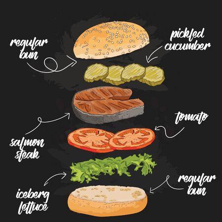 Hand Drawn Colorful salmon fish steak Burger Flying Ingredients