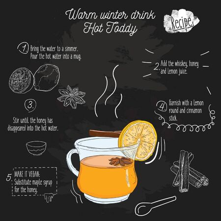 Hand Drawn Colorful Warm Winter drink. Hot Toddy Recipe on blackboard 向量圖像