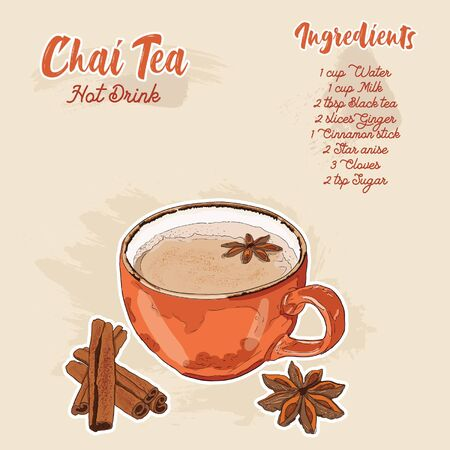 Hand Drawn Colorful Chai Tea Hot Drink Ingredients Recipe