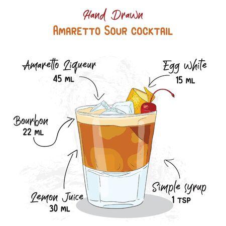 Hand Drawn Colorful Amaretto Sour Summer Cocktail Drink Ingredients Handwritten Recipe Vector Illustration