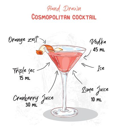 Hand Drawn Colorful Cosmopolitan Summer Cocktail Drink Handwritten Ingredients Recipe