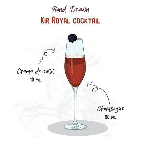 Hand Drawn Colorful Kir Royal Summer Cocktail Drink Ingredients Handwritten Recipe Vektoros illusztráció