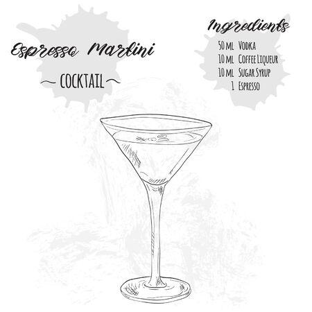 Hand Drawn Black and White Espresso Martini Summer Cocktail Drink Ingredients Recipe
