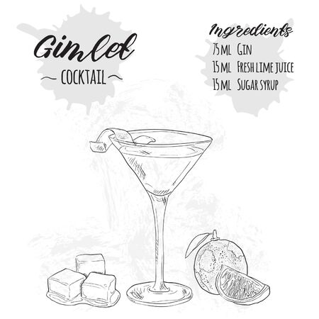 Hand Drawn Black and White Summer Cocktail Drink Ingredients Recipe