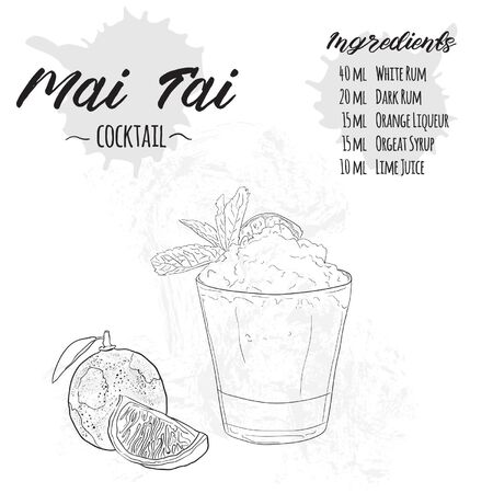 Hand Drawn Black and White Mai Tai Summer Cocktail Drink Ingredients Recipe Ilustração