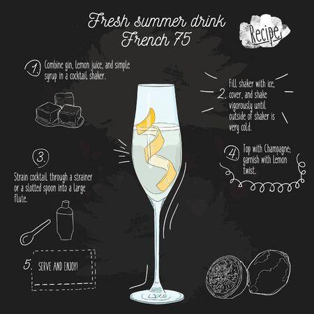 Hand drawn colorful fresh summer drink. French 75 recipe on blackboard