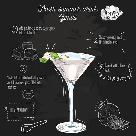 Hand drawn colorful fresh summer drink. Gimlet recipe on blackboard. Illustration