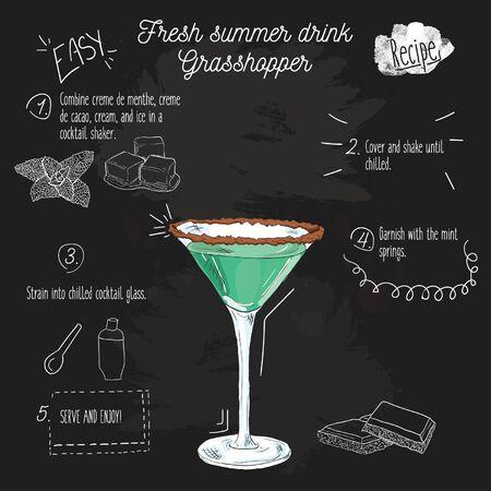 Hand drawn colorful fresh summer drink. Grasshopper recipe on blackboard.