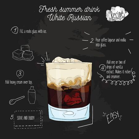 Hand drawn colorful fresh summer drink White Russian recipe on blackboard