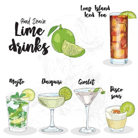 Hand Drawn Colorful Lime Drinks Set. Long Island Iced Tea, Mojito, Daiquiri, Gimlet and Pisco Sour Illustration