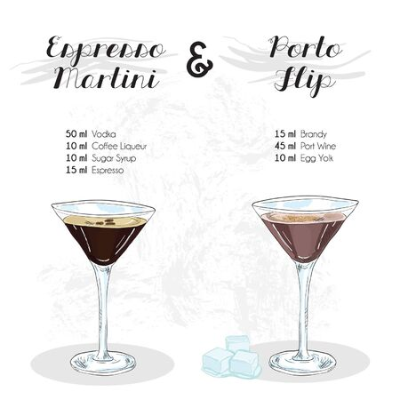 Hand Drawn Colorful Espresso Martini and Porto Flip Cocktail Drink Ingredients Recipe