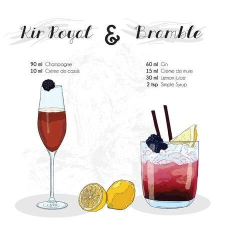 Hand Drawn Colorful Kir Royal and Bramble Cocktail Drink Ingredients Recipe
