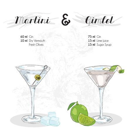 Hand Drawn Colorful Martini and Gimlet Cocktail Drink Ingredients Recipe Illustration