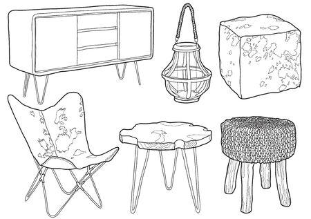 Hand drawn cottage furniture