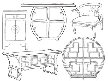 Hand drawn sketchy asian style furniture