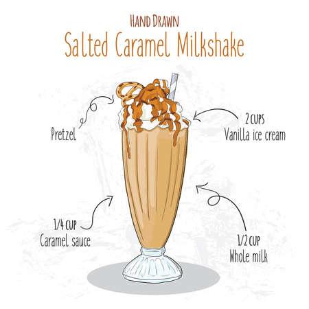 Hand Drawn Colorful Salted Caramel Pretzel Milkshake Summer Drink Recipe