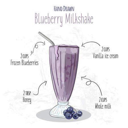Hand Drawn Colorful Blueberry Milkshake Summer Drink Recipe Illustration