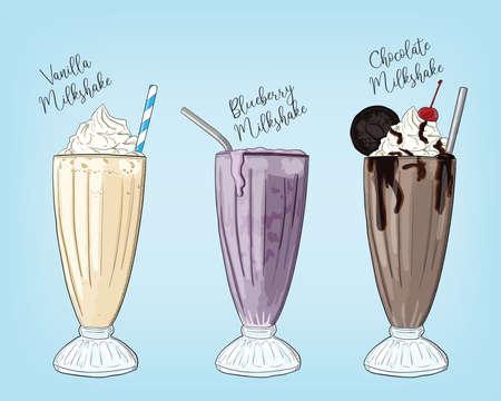 Hand Drawn Colorful Strawberry Caramel Mint Milkshake Summer Drink Set Illustration