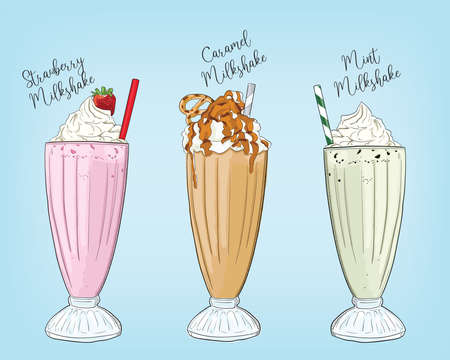 Hand Drawn Colorful Strawberry Caramel Mint Milkshake Summer Drink Set