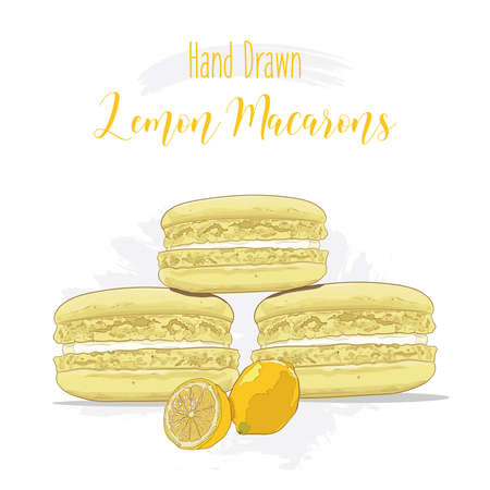 Hand drawn colorful french Macarons with Lemon flavor Illustration