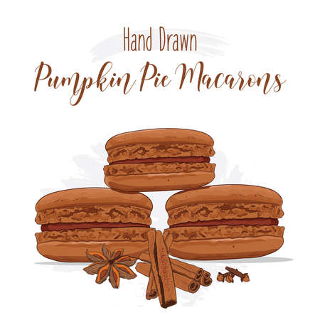 Hand drawn colorful french Macarons with Pumpkin Pie flavor