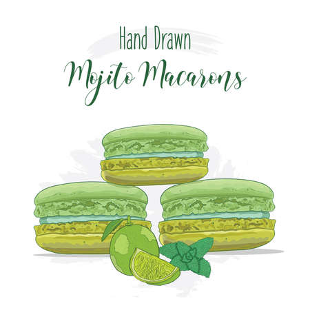 Hand drawn colorful french Macarons with Mojito flavor Illustration