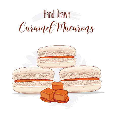 Hand drawn colorful french Macarons with Caramel flavor