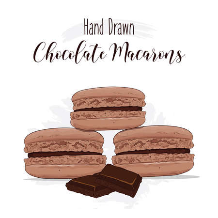Hand drawn colorful french Macarons with Chocolate flavor Illustration