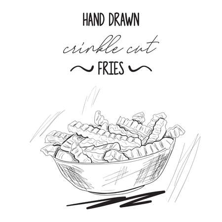 Hand drawn black and white crinkle cut potato fries Illustration