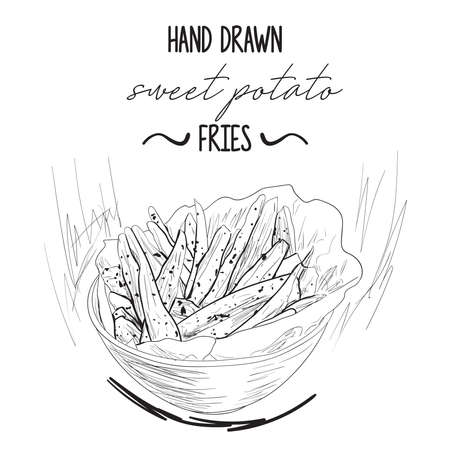 Hand drawn black and white sweet potato fries in a bowl