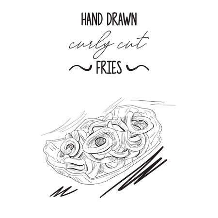 Hand drawn black and white curly cut potato fries