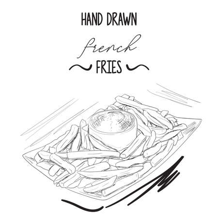 Hand drawn black and white french potato fries in bowl with ketchup