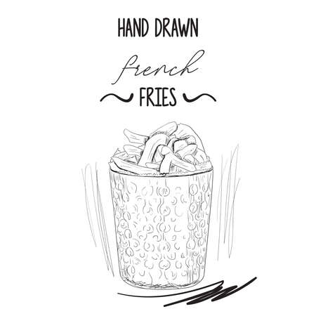 Hand drawn black and white french potato fries in metal cup