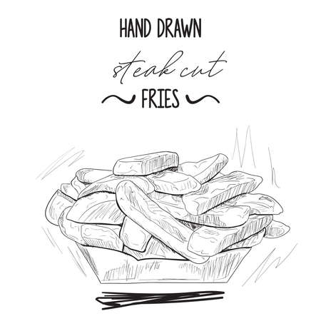 Hand drawn black and white steak cut fries in paper bowl Illustration