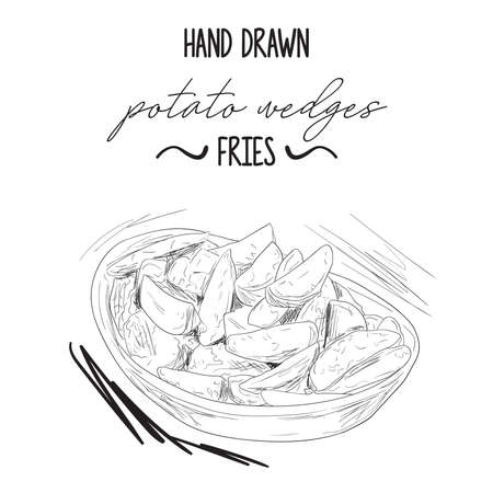 Hand drawn black and white potato wedges fries in bowl