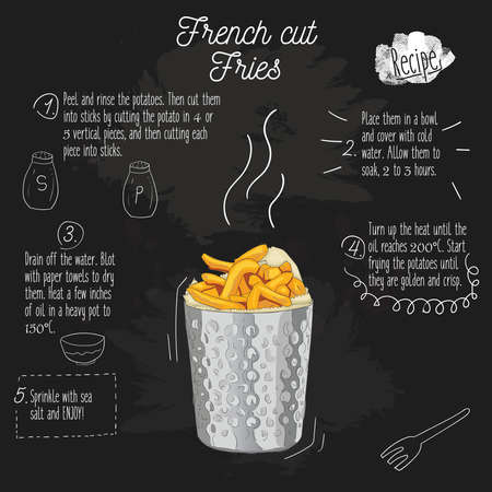 Hand Drawn Colorful french cut potato fries in metal cup Recipe on blackboard